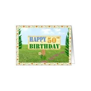Happy 50th Birthday Sign on Footpath Card Toys & Games
