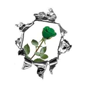 Mini Ripped Torn Metal Decal with Green Rose  REFLECTIVE
