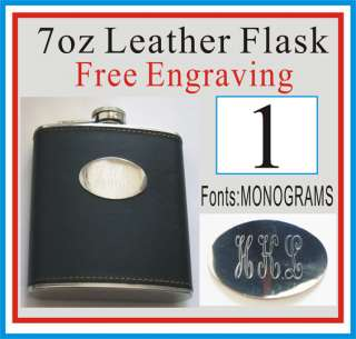 HOLIDAY CHRISTMAS GIFT PERSONALIZED BLACK LEATHER FLASK FREE ENGRAVING