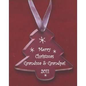 Merry Christmas 2011 Grandma & Grandpa Glass Tree Ornament