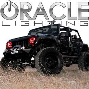 2007 12 Jeep Wrangler JK ORACLE Headlight HALO Kit  RED Demon Eye LED