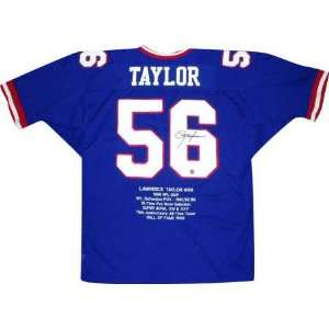 Lawrence Taylor Autographed Embroidered Custom Stat Blue Jersey