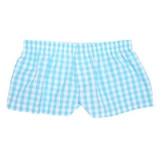 Poolside Blue Gingham Check Cotton Girl Boxers Mini Itty Bitty Shorts