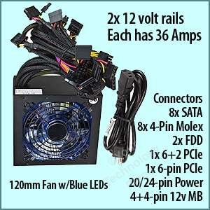 Power Gamer 1080 Watt PC ATX SATA PCIe Power Supply 120mm Blue LED Fan