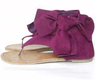 New Womens Suede Classy Gladiator Bow Sandals Flat With Zipper Purple
