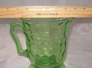 Vintage Hazel Atlas Green Depression Glass Pitcher