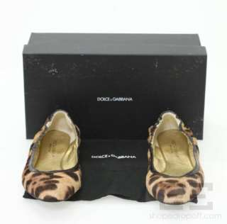 Gabbana Leopard Print Pony Hair & Brown Eel Ballet Flats Size 39, NEW
