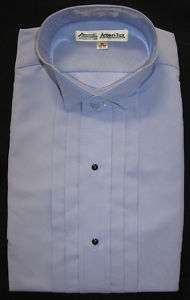 New Mens Blue Wing Collar Tuxedo Shirt Choose Your Size