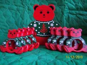 Red Wooden Teddy Bear Napkin Rings Matching Wooden Storage Box