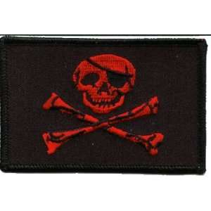 Jolly Roger Red Iron on Patch Arts, Crafts & Sewing