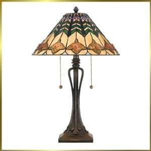 Tiffany Table Lamp, QZTF316T, 2 lights, Antique Bronze, 15