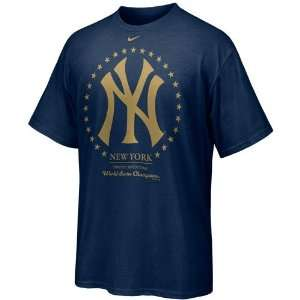 Nike New York Yankees Navy Blue 27 Time World Series Champions T shirt
