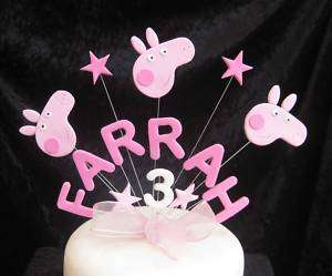 HANDMADE BIRTHDAY NAME/AGE CAKE TOPPER PEPPA PIG