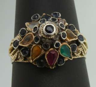 Indian Mogul Multi Gem Flower Tiered Cluster 10K Yellow Gold Ring 7.75
