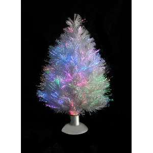 White Fiber Optic Decorative Table Top Christmas Tree