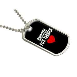 Smooth Fox Terrier Love   Black   Military Dog Tag Luggage