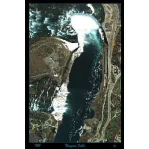 Niagara Falls, New York and Canada satellite poster/map