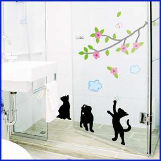 TREE CAT WALL PAPER DECAL MURAL VINYL ART STICKERS #182