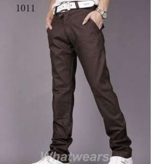 Mens Slim Casual Trousers Straight Leg Pants Grey W51