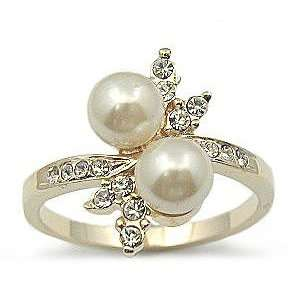PEARL RING   Two Tone Faux Pearl & CZ Ring Jewelry