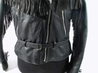 Vintage Harley Davidson Black Leather Jacket w/Fringe 42W American