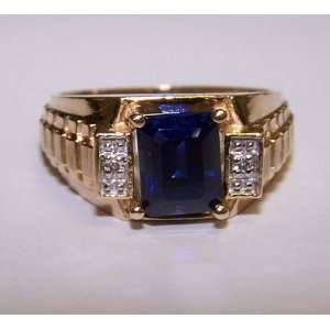 Mens 10k Yellow Gold Sapphire & Diamond Ring