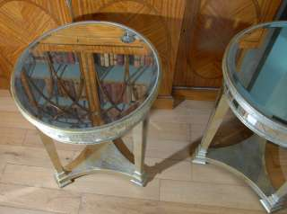 Pair Round Top Art Deco Mirrored Side Tables