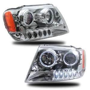 99 00 01 02 03 04 JEEP GRAND CHEROKEE CHROME LED PROJECTOR