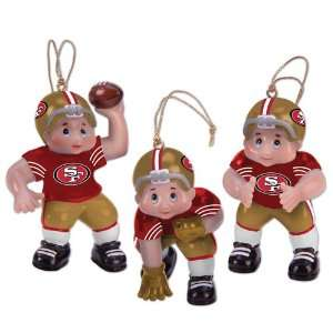 Set of 3 NFL San Francisco 49ers Little Guy Football Player Christmas