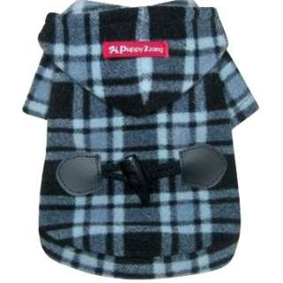 COAT DUFFLE dog clothes check hooded jacket PUPPY ZZANG