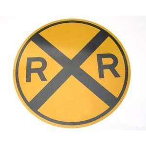 17 Die Cut Metal Sign, Round RR Crossing Toys & Games