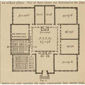 Floor plan for the proper storage of books,library,1881