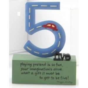My Souls Window Birthday Boy Age 5 Sculpture Cake Topper