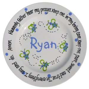 Blue Bumble Bee Hand Painted Personalized Prayer Plate