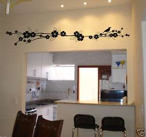 Bird Flower Branch Wall Decal Deco Art Sticker Mural