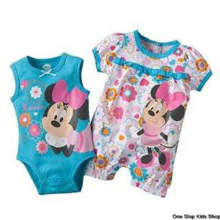 MINNIE MOUSE Baby Girls 3 6 9 Months Romper OUTFIT Set Creeper