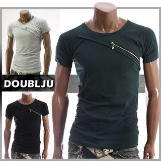 Doublju1 Mens Casual Zipper T Shirts Tee BLACK/GREEN (JJ01)