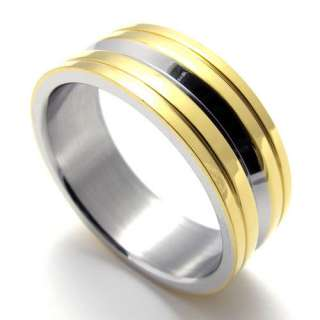 New Fashion Cool Men Women Stainless Steel Gold Silver Ring Size 8 12