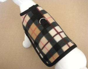 Black And Tan Plaid Fleece Dog Harness Coat Clothes