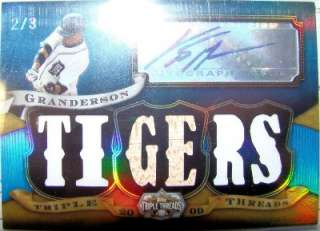 Granderson 2009 09 Triple Threads Auto 2/3 Bat Jersey Game Used Mint