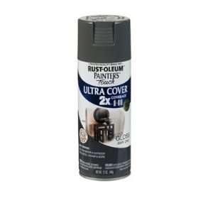 12 Oz Dark Gray Gloss Painters Touch 2X Cover Spray Paint