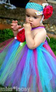 Baby Girl Tutu Dress Birthday Party & Headband Little Miss Lacey