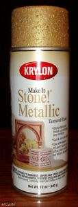 KRYLON MAKE IT STONE TEXTURED SPRAY PAINT METALLIC GOLD