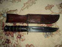 WWII US Marine Corp USMC Ka Bar Fighting Knife w/ Sheath