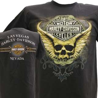 Harley Davidson Las Vegas Dealer Tee T Shirt Skull BLACK MEDIUM
