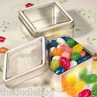 100 MINT TIN FAVORS SQUARE WITH CLEAR TOP FAVOR BOXES WEDDING BABY