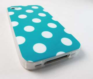 TURQUOISE POLKA DOTS HARD GEL SKIN COVER CASE APPLE IPHONE 4 4s PHONE