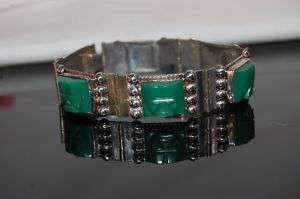 TAXCO MEXICAN STERLING SILVER JADE AZTEC GOD BRACELET