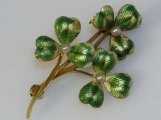 Art Nouveau 14k Gold Enamel Clover Pin LUCKY IRISH CLOVER PIN w PEARLS