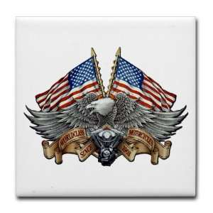 Tile Coaster (Set 4) Eagle American Flag and Motorcycle